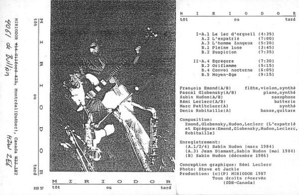 Miriodor - Tôt out tard cassette