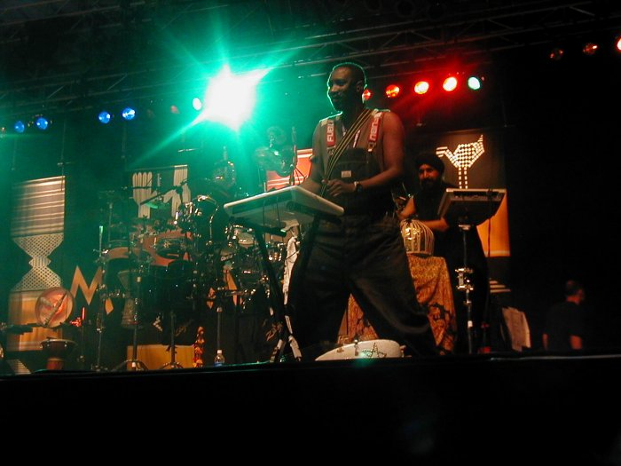 N'Faly Kouyate and Johnny Kalsi of Afro Celt Sound System at WOMAD 2001, photo by Danette Davis