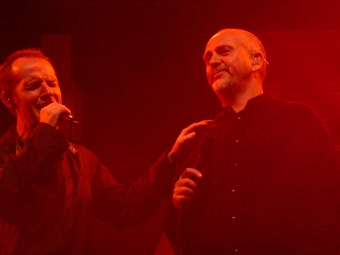 Peter Gabriel and Iarla O Lionaird of Afro Celt Sound System at WOMAD 2001, photo by Danette Davis