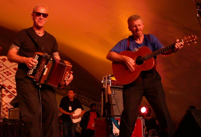 John Jones and Alan Prosser of the Oysterband at WOMAD 2001, photo by Danette Davis