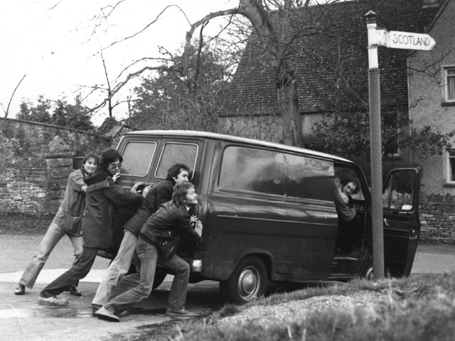 Prog rock is hard work: John Barnfield, Nigel Harris, Peter Gee, Nick Barrett, with manager Greg Lines in the van