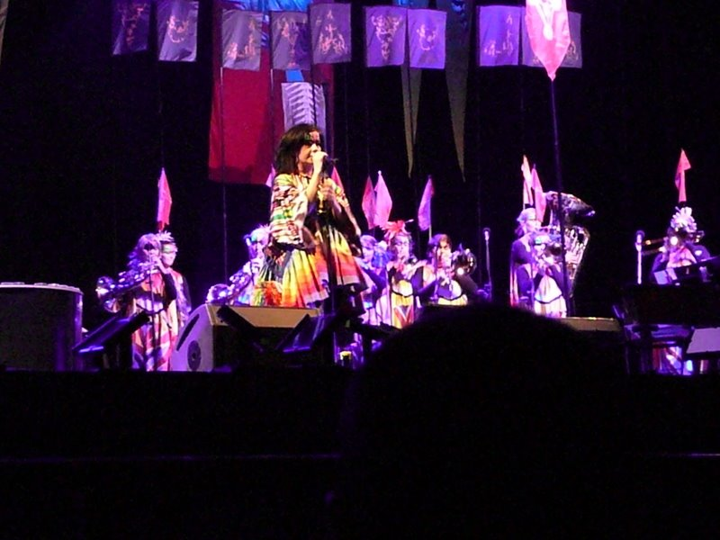 Björk on stage at the Shanghai Gymnastics Center