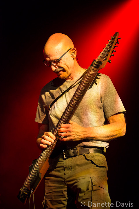 Tony Levin on stage with Stick Men 2017, photo by Danette Davis