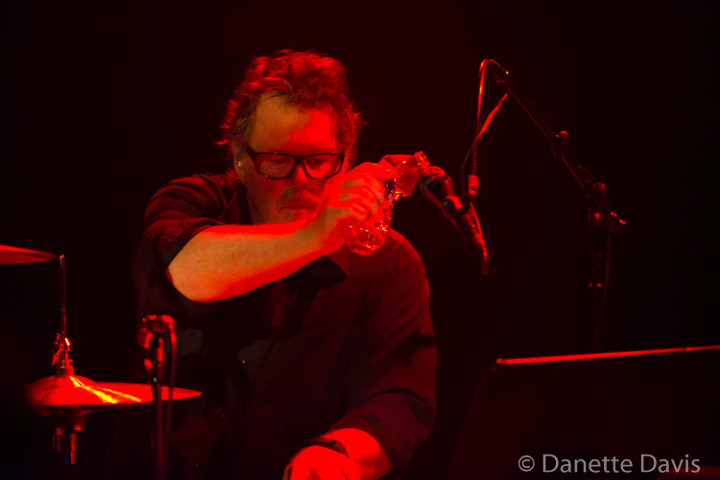 Pat Mastelotto on stage with Stick Men 2017, photo by Danette Davis