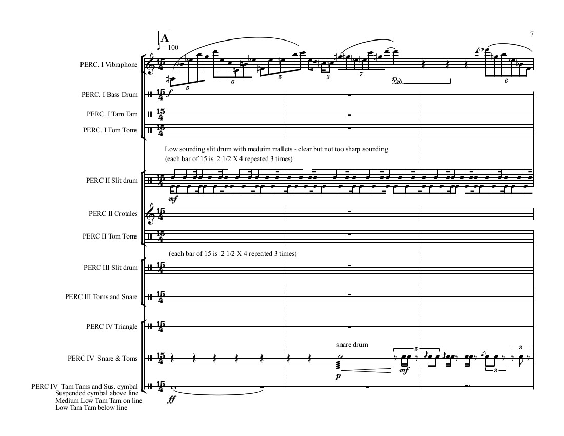 Sample of percussion quartet score, © Adam Rudolph 2017