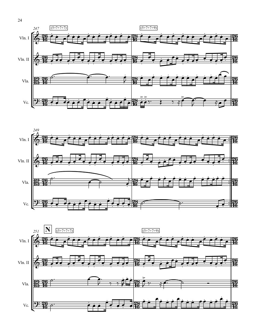 Sample of string quartet score, © Adam Rudolph 2017